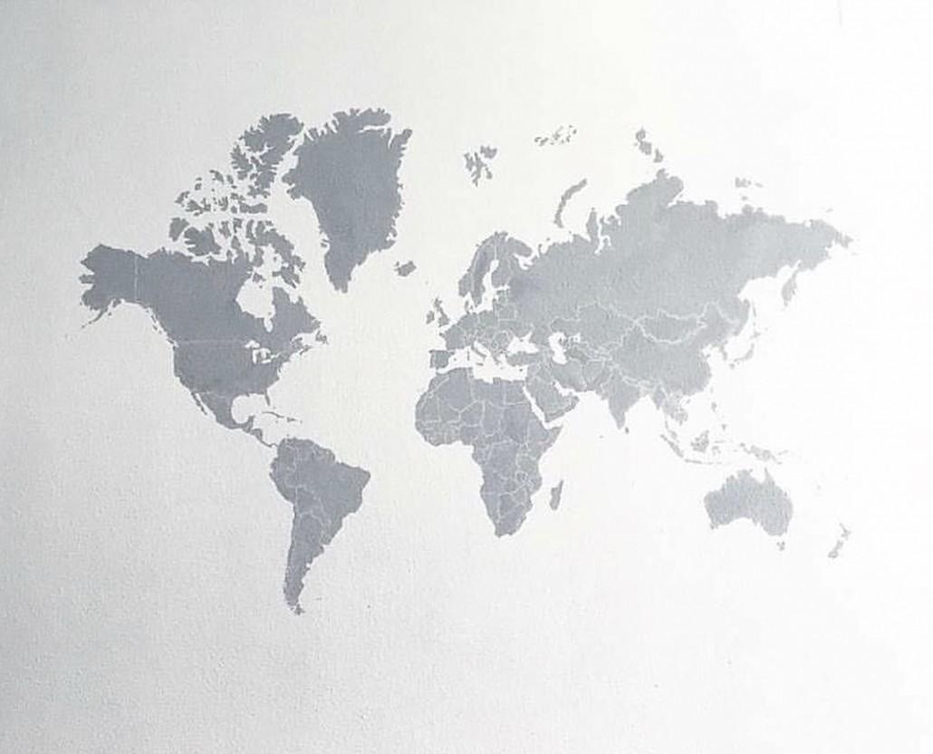 Mural decorativo pintado a mano del mapa del mundo dase - Papel pintado mapa del mundo ...