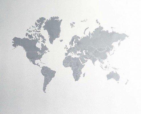 mural decorativo pintado a mano del mapa del mundo thumb