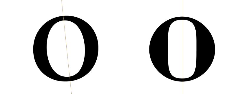 Comparación de modulaciones entre Jenson (izquierda) y Bodoni (derecha)