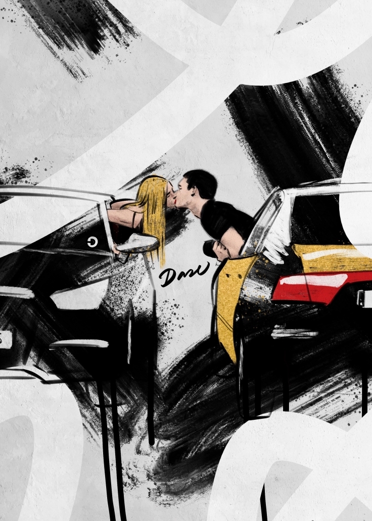 Beso entre chóferes - Dase Marc Álvarez Artist Graphic Designer Illustrator Muralist Calligrapher Lettering