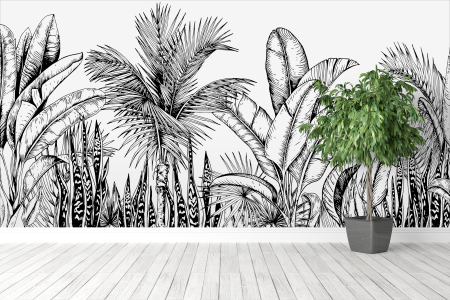 Mural pintado a mano en en pared con diseño de plantas en blanco y negro.