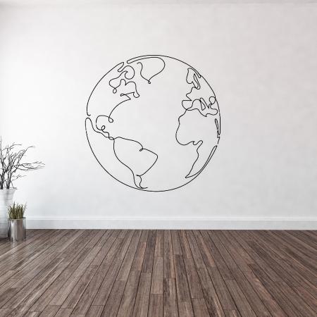 mural mapamundi lineal pintado a mano en pared de casa