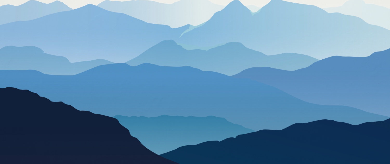 Mural pintado a mano de paisaje de montañas